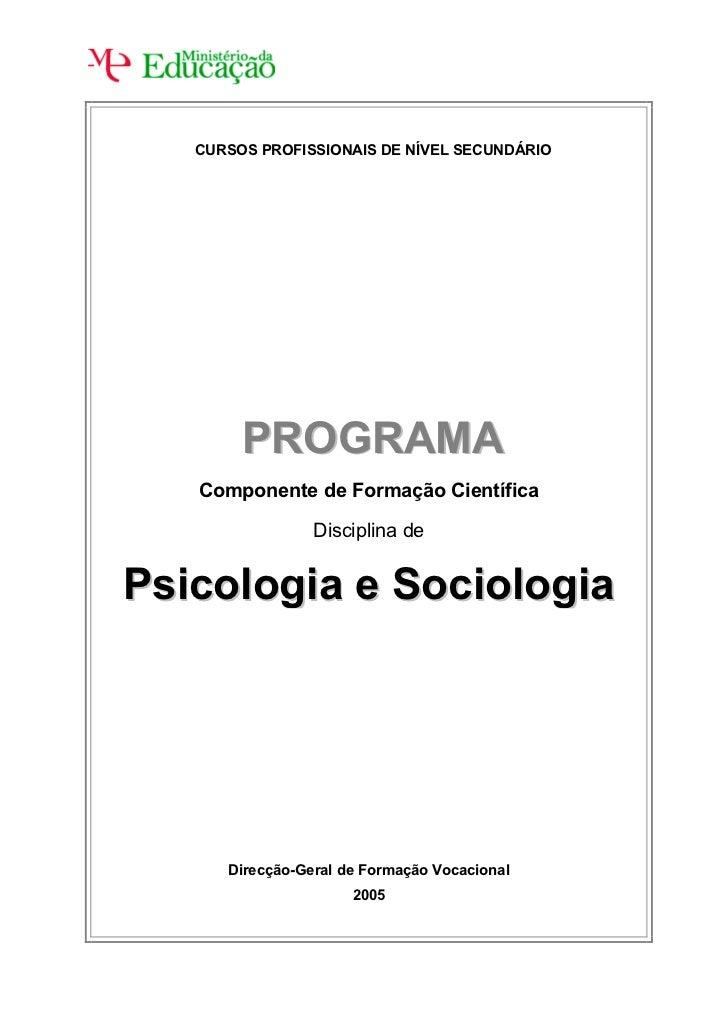 CURSOS PROFISSIONAIS DE NÍVEL SECUNDÁRIO             PROGRAMA    Componente de Formação Científica                   Disci...