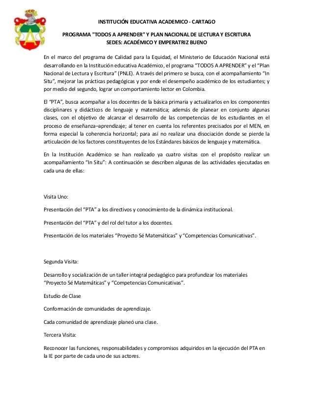 """INSTITUCIÓN EDUCATIVA ACADEMICO - CARTAGOPROGRAMA """"TODOS A APRENDER"""" Y PLAN NACIONAL DE LECTURA Y ESCRITURASEDES: ACADÉMIC..."""