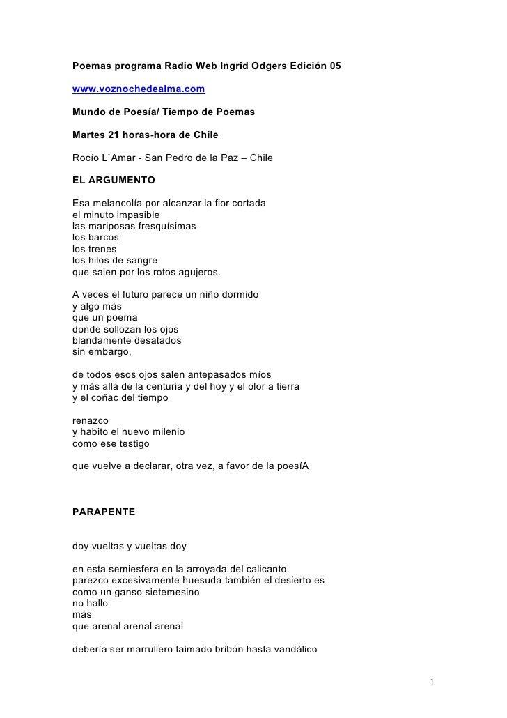 Poemas programa Radio Web Ingrid Odgers Edición 05  www.voznochedealma.com  Mundo de Poesía/ Tiempo de Poemas  Martes 21 h...