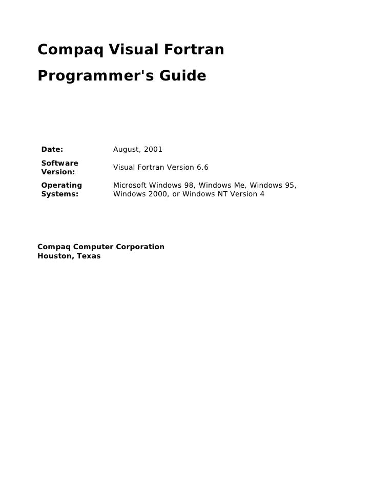 Compaq Visual Fortran Programmer's Guide    Date:           August, 2001 Software                 Visual Fortran Version 6...