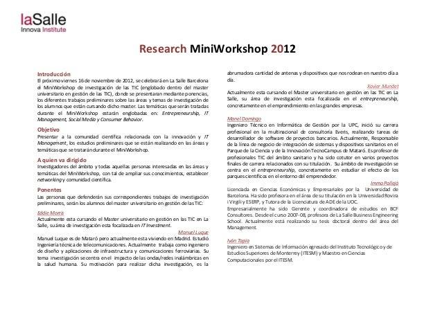 Research MiniWorkshop 2012Introducción                                                                       abrumadora ca...
