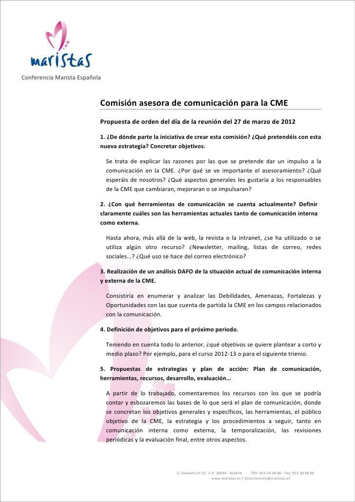 Conferencia Marista Española                           Comisión asesora de comunicación para la CME                       ...