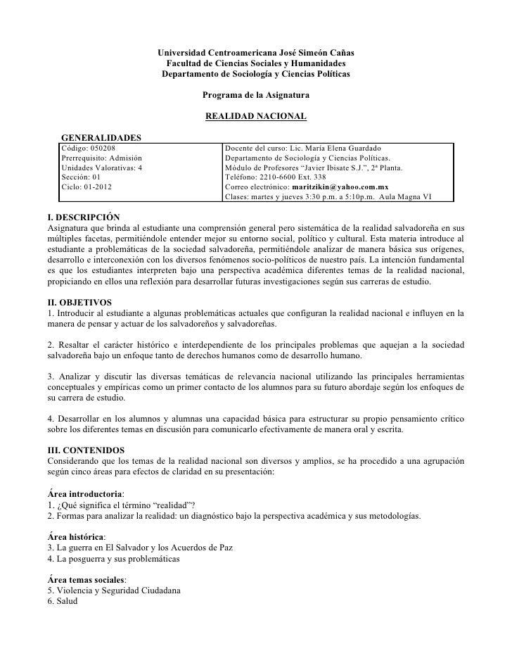 Universidad Centroamericana José Simeón Cañas                               Facultad de Ciencias Sociales y Humanidades   ...