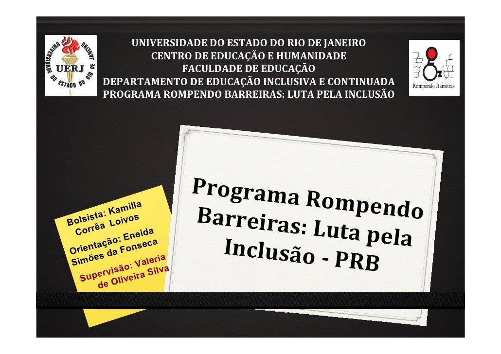 UNIVERSIDADE DO ESTADO DO RIO DE JANEIRO                CENTRO DE EDUCAÇÃO E HUMANIDADE                     FACULDADE DE E...