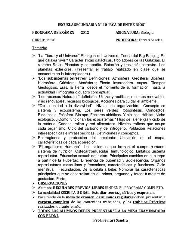 """ESCUELA SECUNDARIA N° 10 """"RCA DE ENTRE RÍOS""""PROGRAMA DE EXÁMEN           2012                 ASIGNATURA: BiologíaCURSO: 1..."""