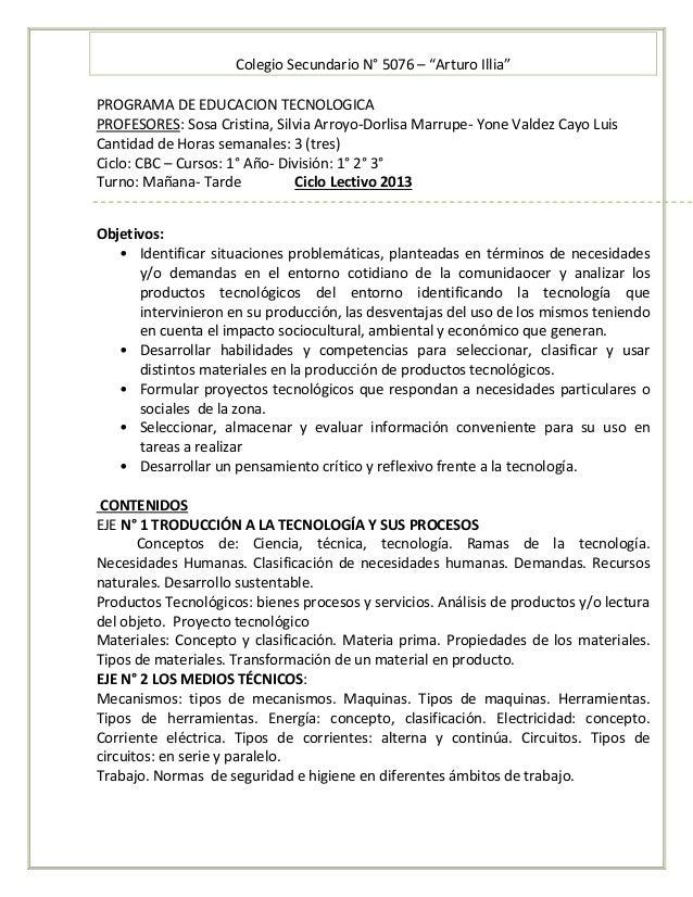 "Colegio Secundario N° 5076 – ""Arturo Illia"" PROGRAMA DE EDUCACION TECNOLOGICA PROFESORES: Sosa Cristina, Silvia Arroyo-Dor..."
