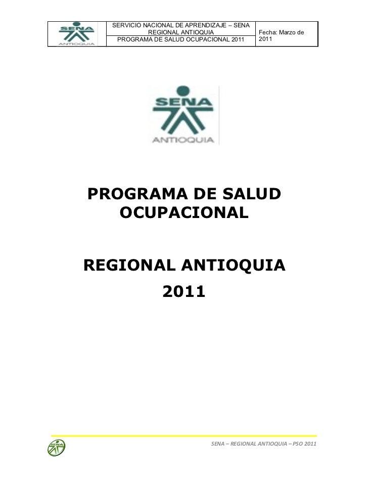 Programa salud ocupacional sena regional antioquia   2011[1]