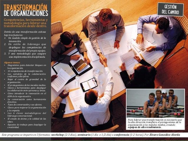 TRANSFORMACIÓN DE ORGANIZACIONES Competencias,  herramientas  y   metodología  para  liderar  una   transfor...