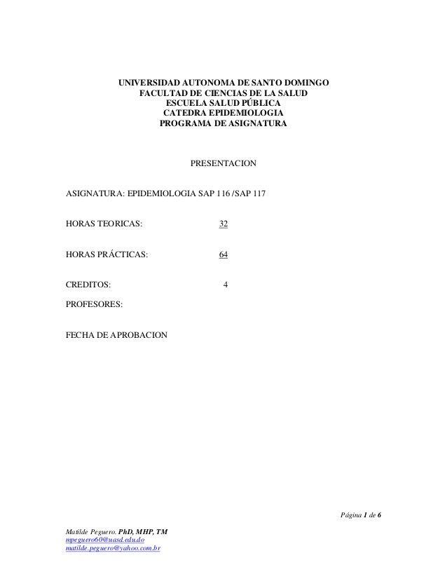 UNIVERSIDAD AUTONOMA DE SANTO DOMINGO                  FACULTAD DE CIENCIAS DE LA SALUD                       ESCUELA SALU...