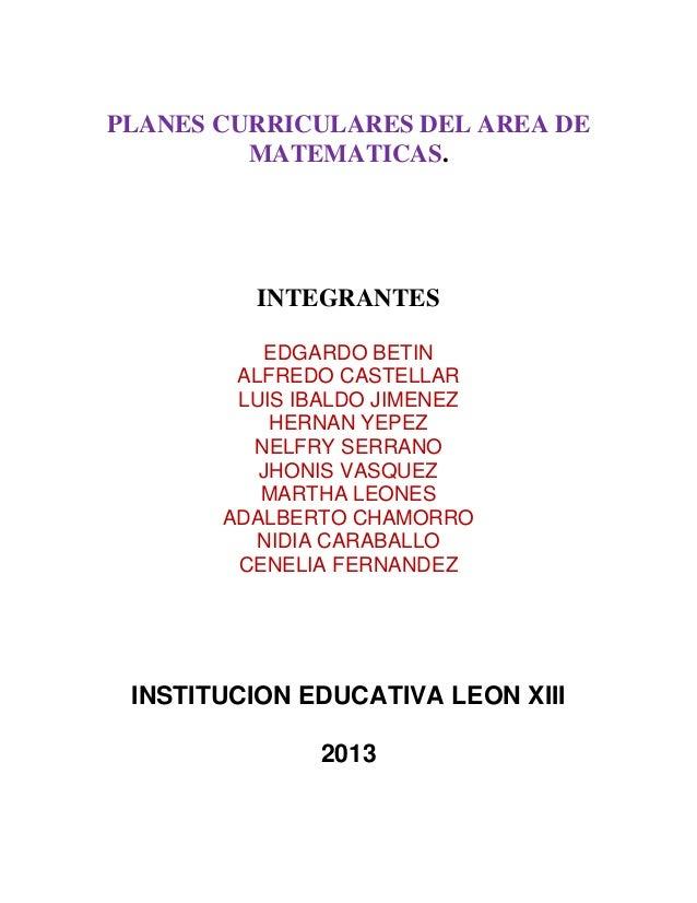 Programas curriculares de matemáticas pre escolar a quinto