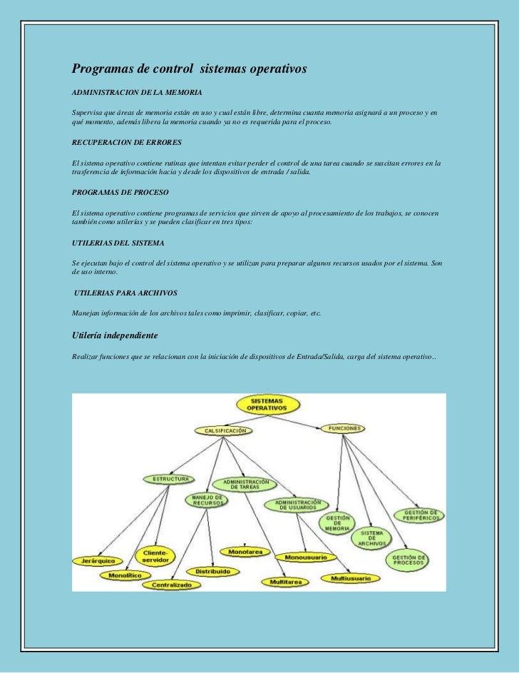 Programas de control  sistemas operativos<br />ADMINISTRACION DE LA MEMORIA<br />Supervisa que áreas de memoria están en u...