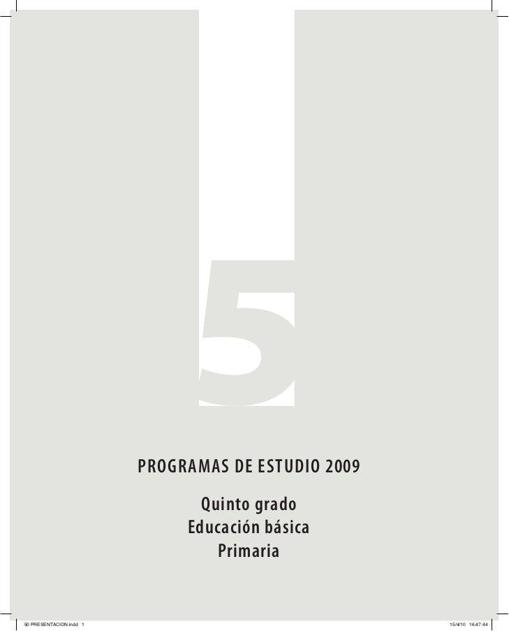 programas de estudio 2009                                Quinto grado                              educación básica       ...