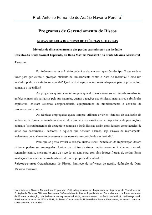Prof. Antonio Fernando de Araújo Navarro Pereira 1 Programas de Gerenciamento de Riscos NOTAS DE AULA DO CURSO DE CIÊNCIAS...