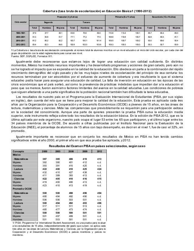 Cobertura (tasa bruta de escolarización) en Educación Básica1 (1990-2012) Preescolar (4 y 5 años) Ciclo escolar  Segundo  ...