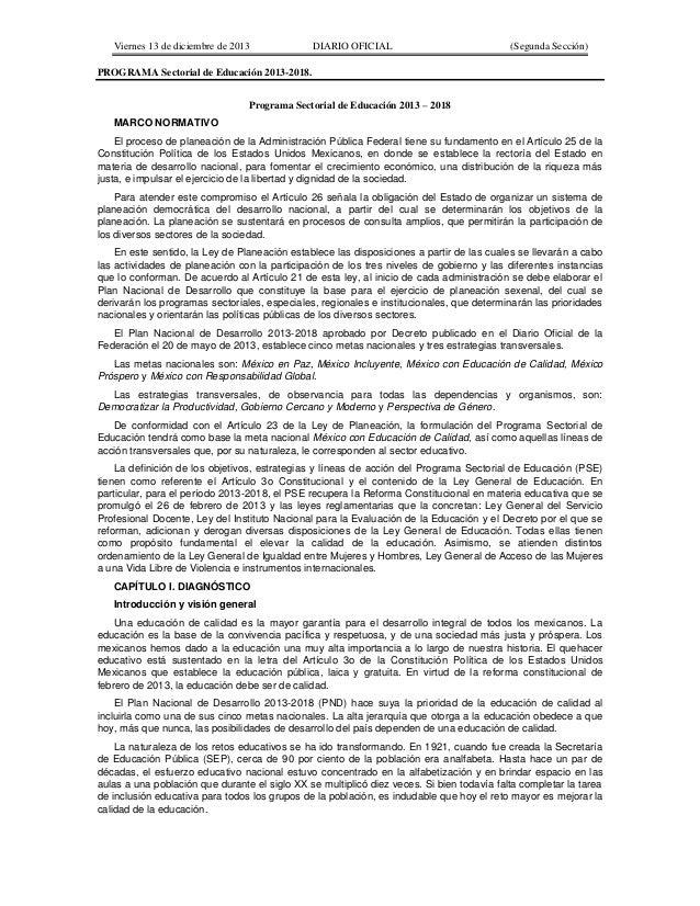Viernes 13 de diciembre de 2013 DIARIO OFICIAL (Segunda Sección) PROGRAMA Sectorial de Educación 2013-2018. Programa Secto...