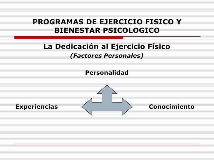 PROGRAMAS DE EJERCICIO FISICO Y BIENESTAR PSICOLOGICO<br />La Dedicación al Ejercicio Físico<br />(Factores Personales)<br...