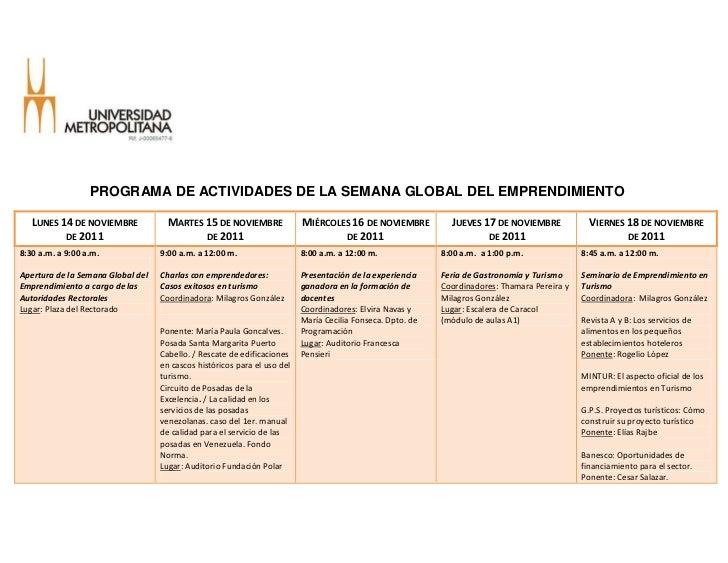 PROGRAMA DE ACTIVIDADES DE LA SEMANA GLOBAL DEL EMPRENDIMIENTO   LUNES 14 DE NOVIEMBRE             MARTES 15 DE NOVIEMBRE ...