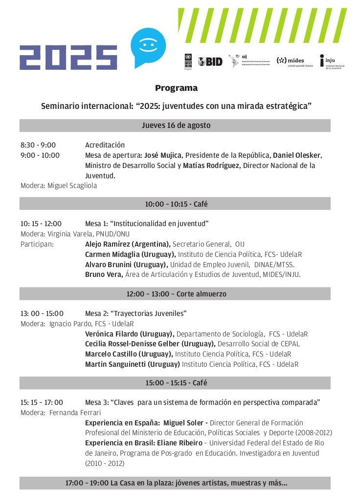 """Programa      Seminario internacional: """"2025: juventudes con una mirada estratégica""""                                      ..."""