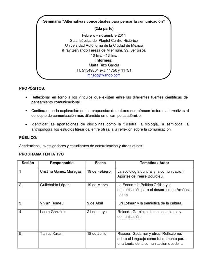 "Seminario ""Alternativas conceptuales para pensar la comunicación""                                             (2da parte) ..."