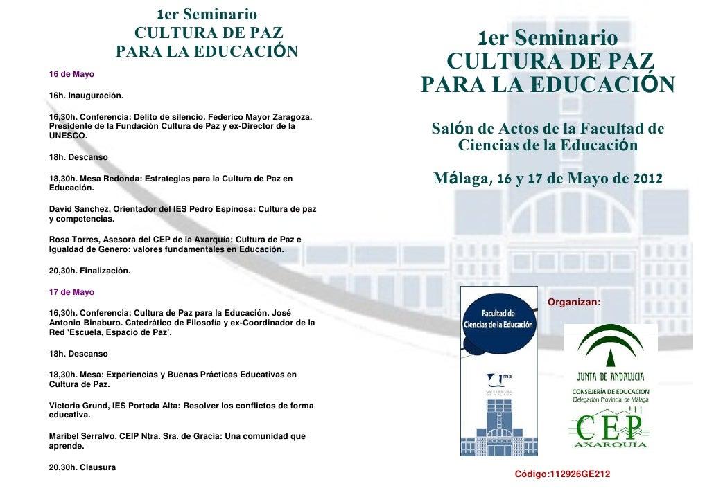 1er Seminario                   CULTURA DE PAZ                                        1er Seminario                 PARA L...