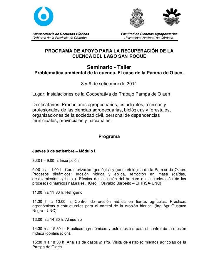 Subsecretaría de Recursos Hídricos                Facultad de Ciencias AgropecuariasGobierno de la Provincia de Córdoba   ...