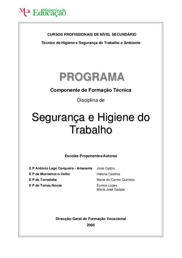 CURSOS PROFISSIONAIS DE NÍVEL SECUNDÁRIO Técnico de Higiene e Segurança do Trabalho e Ambiente  PROGRAMA Componente de For...