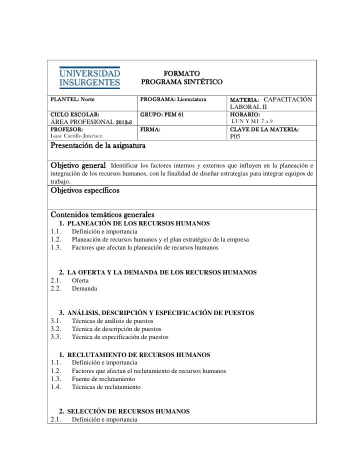 FORMATO                                  PROGRAMA SINTÉTICOPLANTEL: Norte                    PROGRAMA: Licenciatura       ...