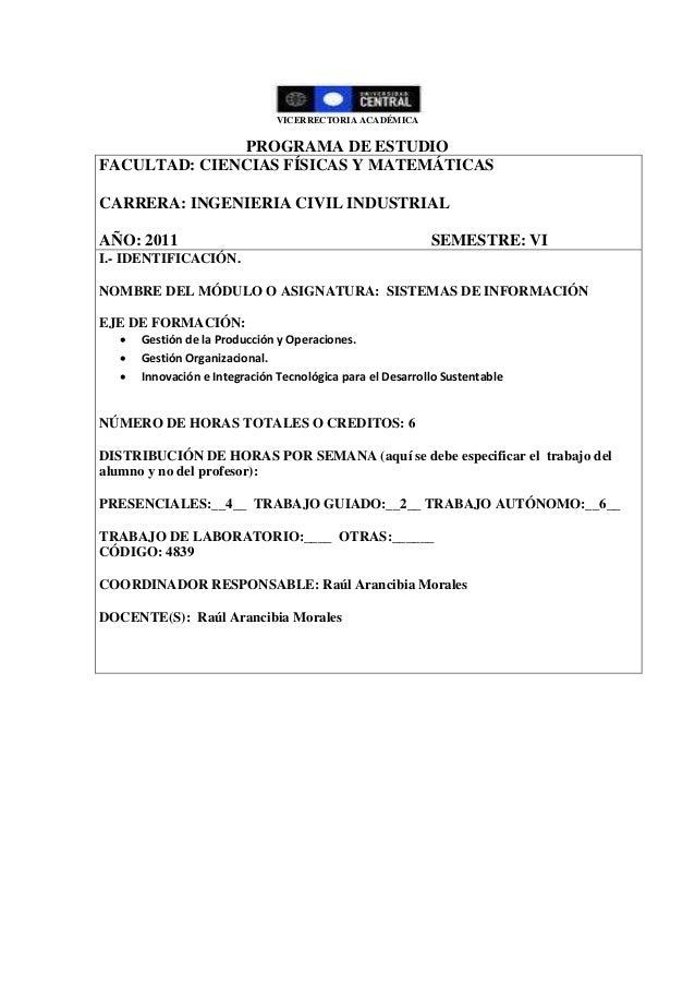 VICERRECTORIA ACADÉMICA PROGRAMA DE ESTUDIO FACULTAD: CIENCIAS FÍSICAS Y MATEMÁTICAS CARRERA: INGENIERIA CIVIL INDUSTRIAL ...