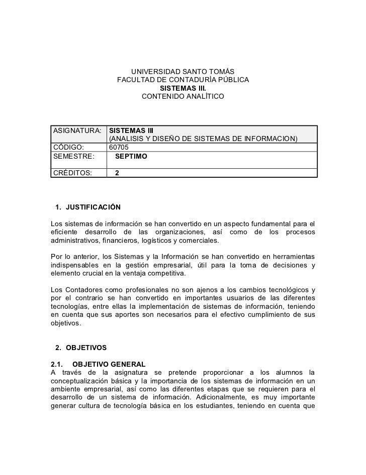 UNIVERSIDAD SANTO TOMÁS                    FACULTAD DE CONTADURÍA PÚBLICA                              SISTEMAS III.      ...