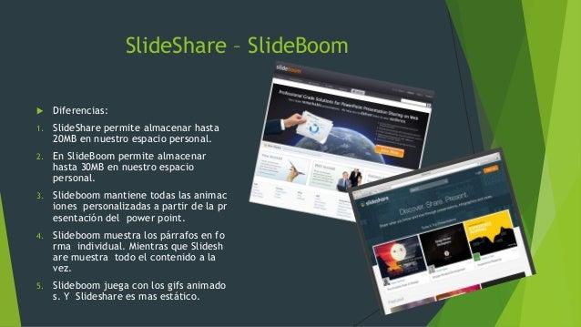 SlideShare – SlideBoom  Diferencias: 1. SlideShare permite almacenar hasta 20MB en nuestro espacio personal. 2. En SlideB...
