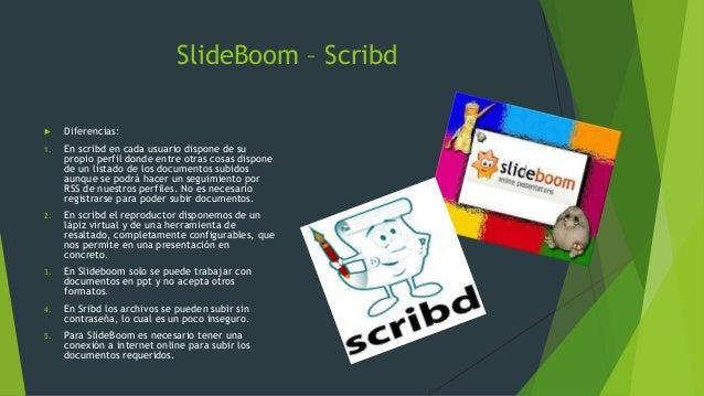 SlideBoom – Scribd  Diferencias: 1. En scribd en cada usuario dispone de su propio perfil donde entre otras cosas dispone...