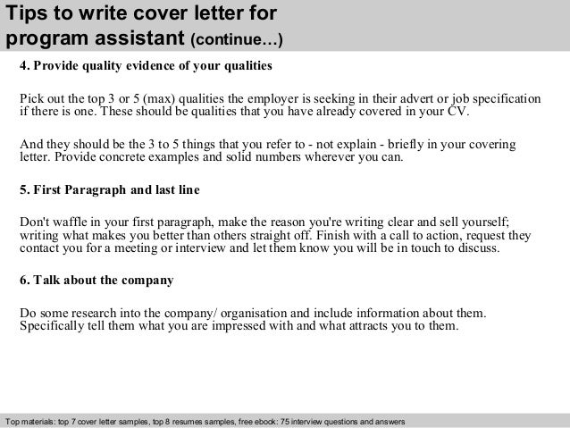 Program assistant cover letter