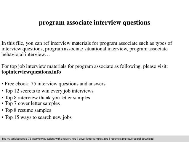 Program Associate Interview Questions In This File, You Can Ref Interview  Materials For Program Associate ...