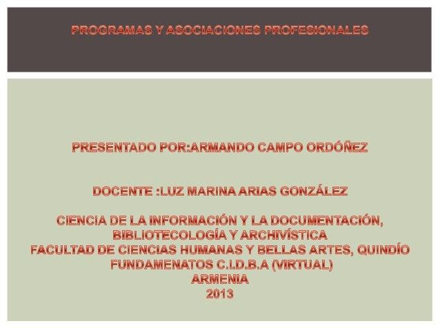 PROGRAMAS AFINES A C.I.D.B.A 1ºUNIVERSIDAD DE LA SALLE