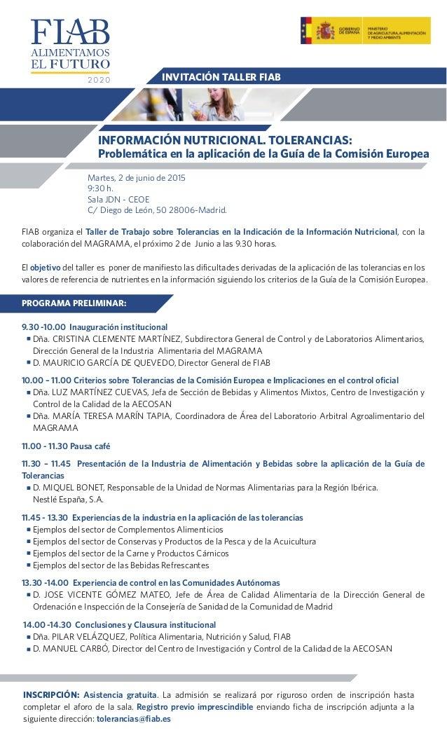 FIAB organiza el Taller de Trabajo sobre Tolerancias en la Indicación de la Información Nutricional, con la colaboración d...