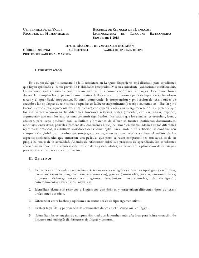 1 UNIVERSIDAD DEL VALLE FACULTAD DE HUMANIDADES ESCUELA DE CIENCIAS DEL LENGUAJE LICENCIATURA EN LENGUAS EXTRANJERAS SEMES...