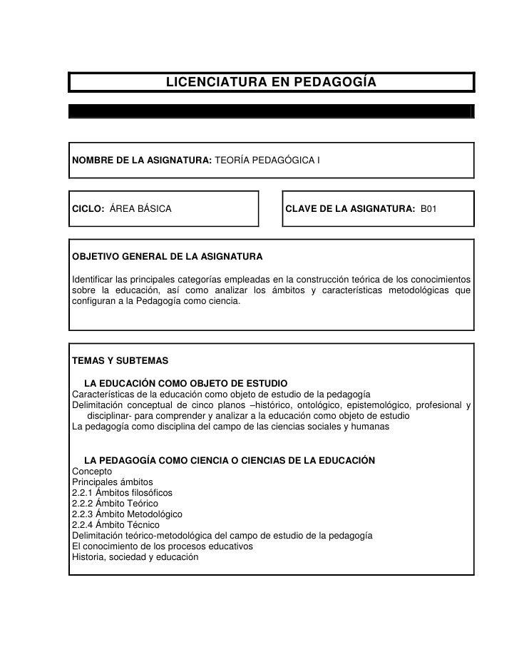 LICENCIATURA EN PEDAGOGÍANOMBRE DE LA ASIGNATURA: TEORÍA PEDAGÓGICA ICICLO: ÁREA BÁSICA                                 CL...