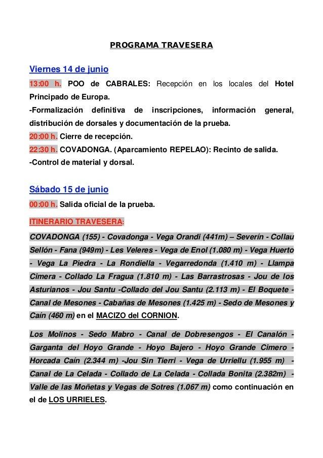 PROGRAMA TRAVESERAViernes 14 de junio13:00 h. POO de CABRALES: Recepción en los locales del HotelPrincipado de Europa.-For...