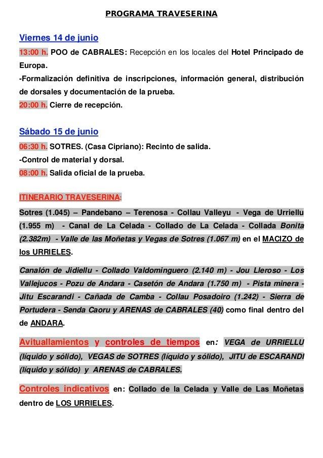 PROGRAMA TRAVESERINAViernes 14 de junio13:00 h. POO de CABRALES: Recepción en los locales del Hotel Principado deEuropa.-F...
