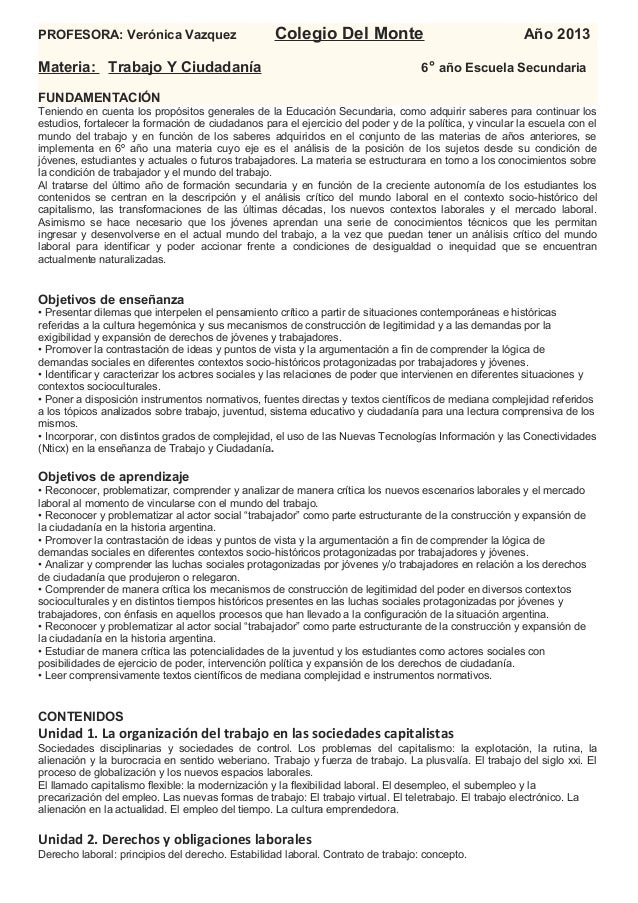 PROFESORA: Verónica Vazquez                        Colegio Del Monte                                      Año 2013Materia:...
