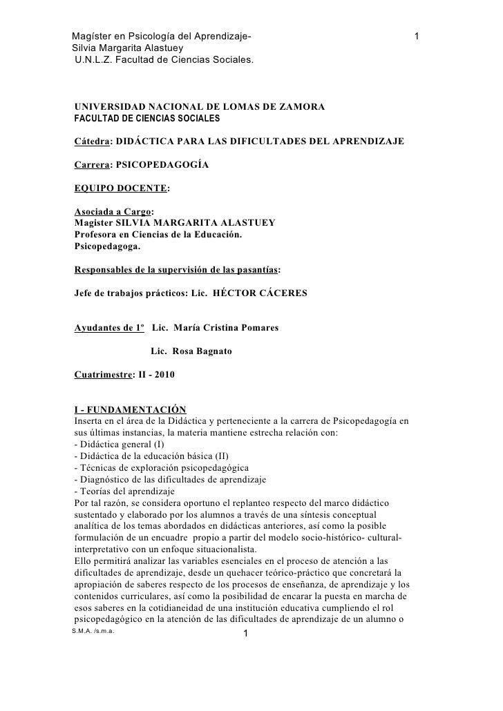 Magíster en Psicología del Aprendizaje-                                                 1 Silvia Margarita Alastuey U.N.L....