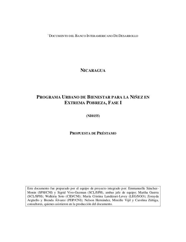 `DOCUMENTO DEL BANCO INTERAMERICANO DE DESARROLLO                                   NICARAGUA      PROGRAMA URBANO DE BIEN...