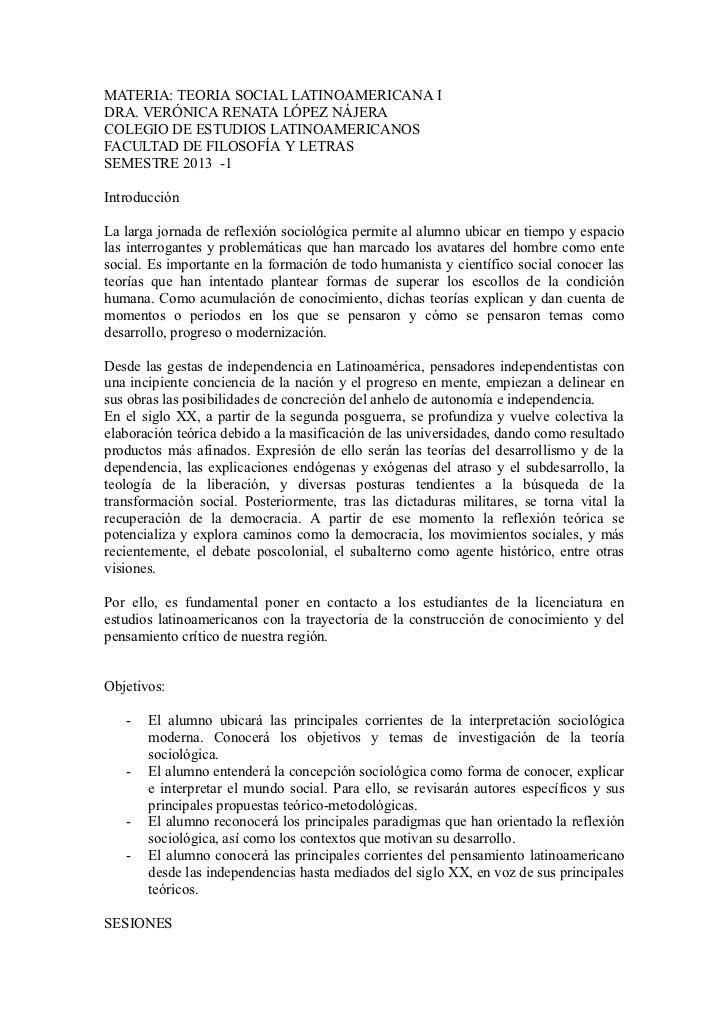 MATERIA: TEORIA SOCIAL LATINOAMERICANA IDRA. VERÓNICA RENATA LÓPEZ NÁJERACOLEGIO DE ESTUDIOS LATINOAMERICANOSFACULTAD DE F...