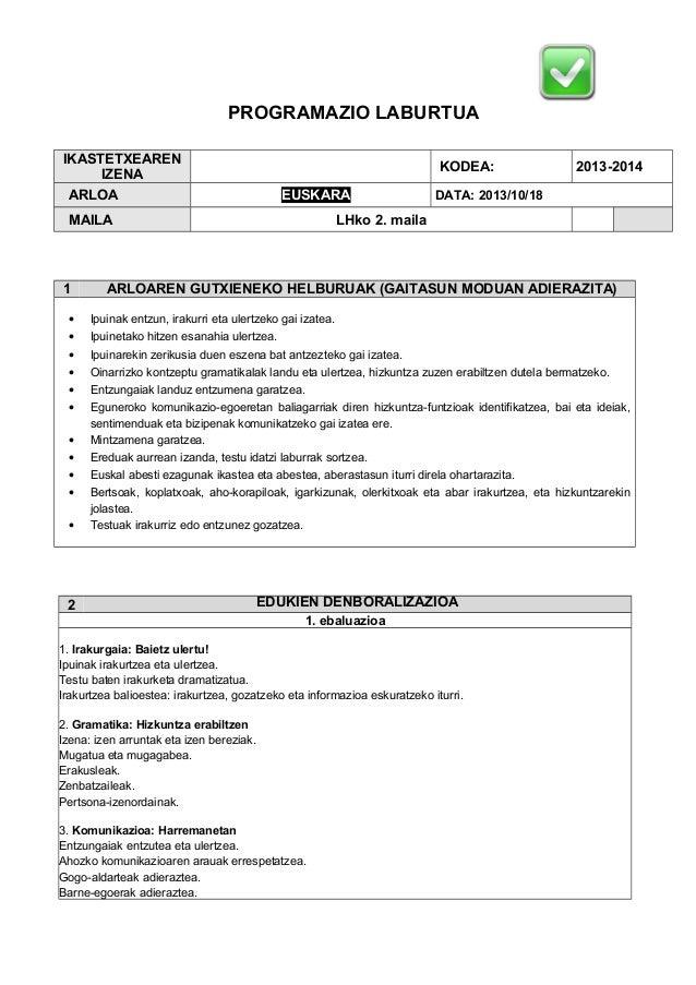 PROGRAMAZIO LABURTUA IKASTETXEAREN IZENA ARLOA  KODEA: EUSKARA  MAILA  1 • • • • • •  2013-2014  DATA: 2013/10/18  LHko 2....
