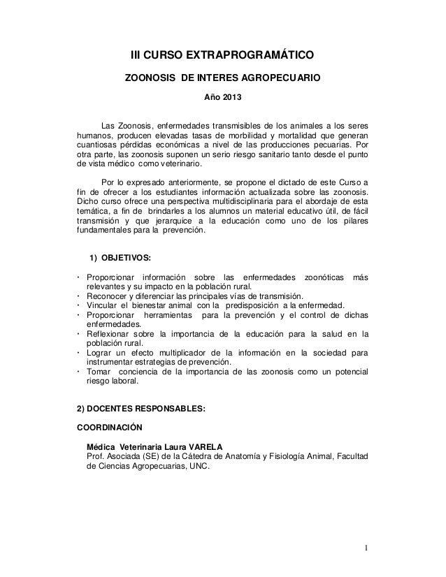 III CURSO EXTRAPROGRAMÁTICO             ZOONOSIS DE INTERES AGROPECUARIO                                  Año 2013       L...