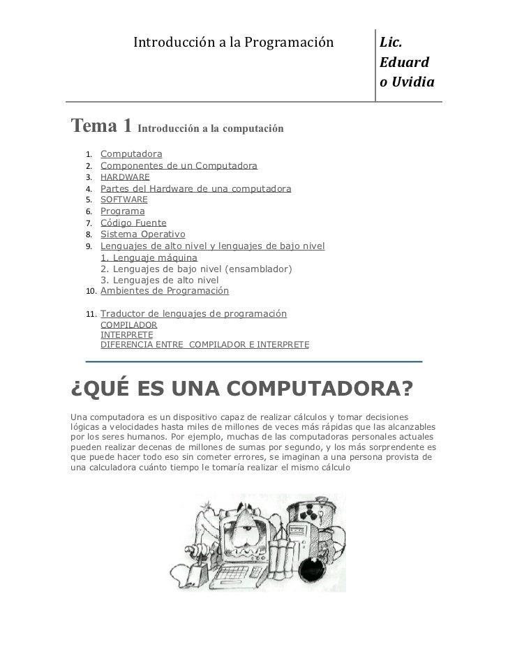 Introducción a la Programación                            Lic.                                                            ...
