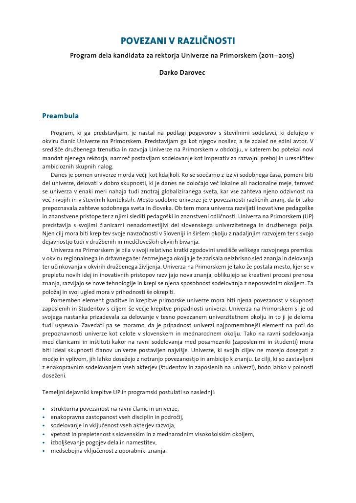 POVEZANI V RAZLI»NOSTI            Program dela kandidata za rektorja Univerze na Primorskem (2011-2015)                   ...