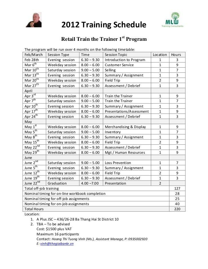 2012 Training Schedule                      Retail Train the Trainer 1st ProgramThe program will be run over 4 months on t...