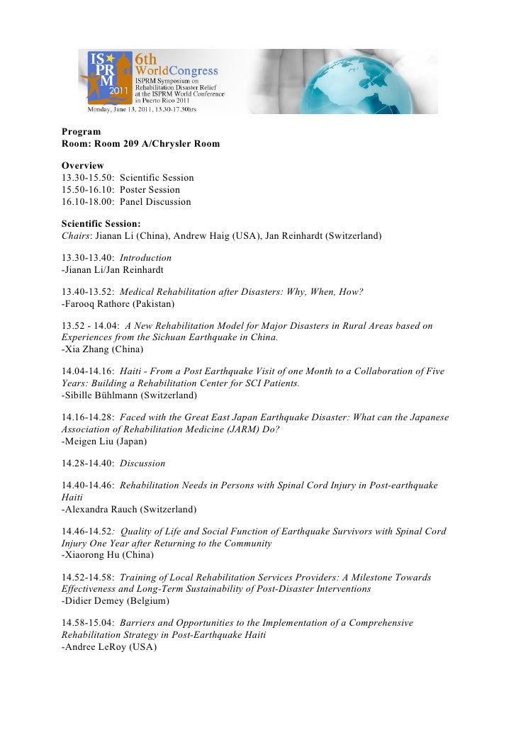 Program disaster symposium crdr_isprm11