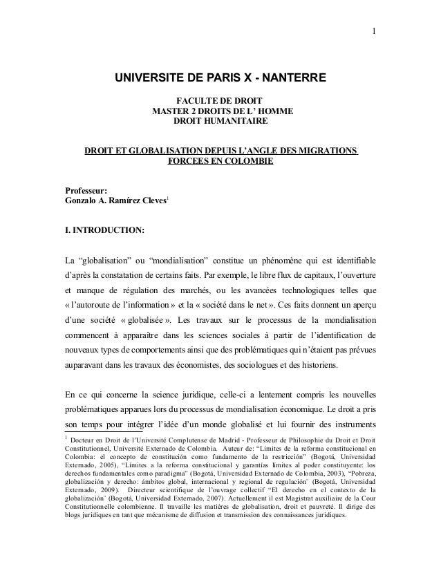 UNIVERSITE DE PARIS X - NANTERRE FACULTE DE DROIT MASTER 2 DROITS DE L' HOMME DROIT HUMANITAIRE DROIT ET GLOBALISATION DEP...